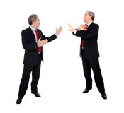 Business men debating. Isolated on white Stock Photo
