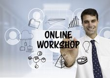 Business men drawing online workshop graphic. Digital composite of Business man drawing online workshop graphic Royalty Free Stock Images