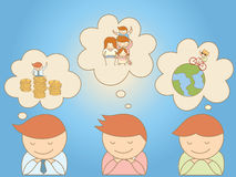 Business men dreaming about life goal royalty free illustration