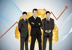 Business men economic charts gold money. Businessman in front of gold coins and stock market charts royalty free illustration