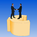Business men on euro symbol. Business men meeting with handshake on giant euro symbol Royalty Free Stock Photo