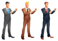Business men fight pose set. Isolated Stock Photography