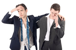 Business men fired, upset, crying. Stock Photos