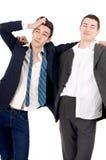 Business men fired, upset. Men drunk. Royalty Free Stock Photography