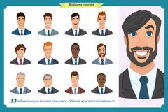 Business men flat avatars set with smiling face. Team icons collection. Business men flat avatars set with smiling face. Men in suits.Team icons collection Royalty Free Stock Images