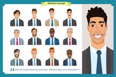 Business men flat avatars set with smiling face. Team icons collection. Business men flat avatars set with smiling face. Men in suits.Team icons collection Stock Photography
