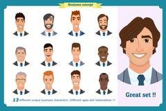 Business men flat avatars set with smiling face. Team icons collection. Business men flat avatars set with smiling face. Men in suits.Team icons collection Royalty Free Stock Photo