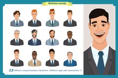 Business men flat avatars set with smiling face. Team icons collection. Business men flat avatars set with smiling face. Men in suits.Team icons collection Royalty Free Illustration