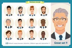 Business men flat avatars set with smiling face. Team icons collection. Business men flat avatars set with smiling face. Men in suits.Team icons collection Stock Photo