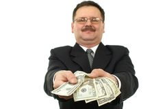 Business men give some notes stock images
