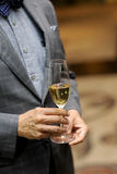 Business men with glass of champagne Stock Images