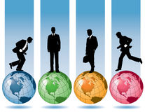 Business men and globes. A set of illustrations with business men and globes Stock Image