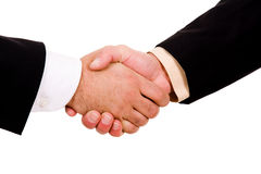 Business men hand shake. In white background Stock Images