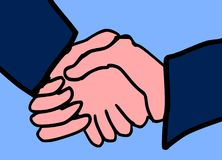 Business Men Handshake with Light Blue Background. This is a vector illustration. The illustration shows two business men, who handshake. The illustration Stock Photography