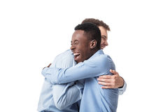 Business men happy embracing. Successful business men happy embracing isolated on white background. meeting friends Royalty Free Stock Photos