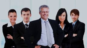 Business man and his team  over a white background. Royalty Free Stock Photos
