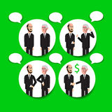 Business men infographic. Vector hand drawn characters making business bubble chats Royalty Free Stock Photography