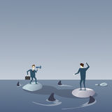 Business Men On Islands In Sea Water With Sharks Around Concept Financial Crisis. Flat Vector Illustration Stock Image