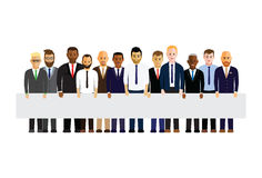 Business men in a line. Holding a sign Stock Images