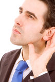 Business men in listening pose Stock Photos