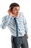 Business men in listening pose Royalty Free Stock Photos