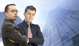 Business men looking confident - world background Royalty Free Stock Photography