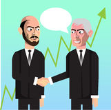 Business men making deal chatting. Vector hand drawn characters making business Stock Photos