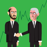 Business men making deal. Vector hand drawn characters making business Stock Image
