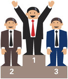 Business men podium winners. 3 business men winners on a podium. 1. prize with arms raised Stock Photo