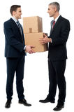 Business men posing with cardboard boxes Stock Photos