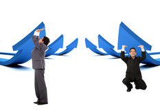 Business men pushing arrows Royalty Free Stock Images