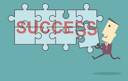 Business men putting together jigsaw the word Success vector fil Stock Photos