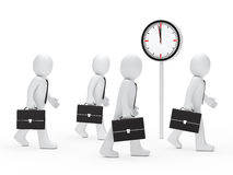 Business men run time. 3d business men with briefcase run time Stock Images