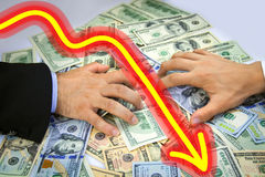 Business Men's hands grabbing over money Royalty Free Stock Photography