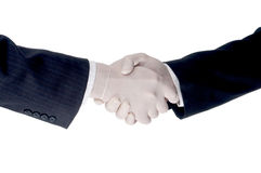 Business men shake hands wearing protective gloves Stock Image