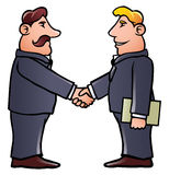 Business men shaking hands. Cartoon illustration of two business men shaking hands in some kind of a business meeting Royalty Free Stock Photo