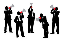 Business men shouting by megaphone Stock Photos