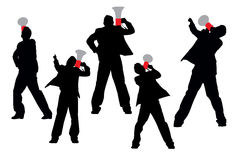 Business men shouting by megaphone Royalty Free Stock Photography