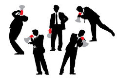 Business men shouting by megaphone Royalty Free Stock Photos