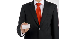 Business men shows his business card. The men holds blank business card which can contains information of you company stock photo