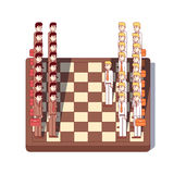 Business men standing on chess board as figures. Businessmen lawyers standing on giant chessboard as chess figures. Business metaphor of strategic negotiation or Stock Images