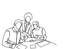 Business Men Team Working Together At New Startup During Brainstorming Meeting Simple Doodle Style. Vector Illustration royalty free illustration
