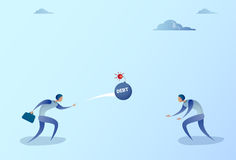 Business Men Throwing Each Other Bomb Credit Debt Finance Crisis Concept. Flat Vector Illustration Royalty Free Stock Photos