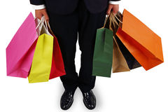 Business men to sponsor a shopping bag Stock Photo