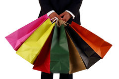 Business men to sponsor a shopping bag Royalty Free Stock Image