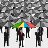 Business men with umbrella Stock Photo