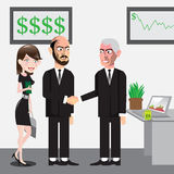 Business men. Vector hand drawn characters making business Royalty Free Stock Photo