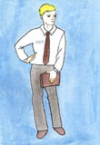 Business men watercolors drawing Stock Images