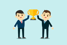 Business men wear suite show up Trophy cup. Royalty Free Stock Photos