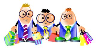 Business men went shopping. Illustration of three funny clerks with many colorful shopping bags. Isolated on white vector illustration